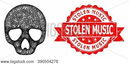 Network Skull Icon, And Stolen Music Textured Ribbon Seal. Red Seal Has Stolen Music Text Inside Rib