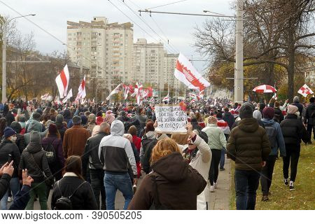 Minsk, Belarus - October 18, 2020. Peaceful Demonstration Against Government Violence And Electoral