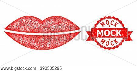 Wire Frame Smile Lips Icon, And Mock Rubber Ribbon Seal Print. Red Stamp Seal Has Mock Tag Inside Ri
