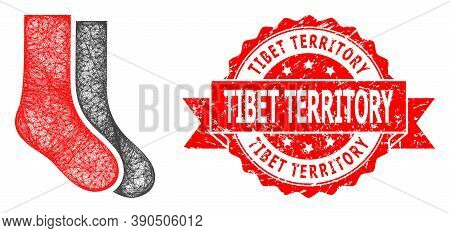 Wire Frame Socks Icon, And Tibet Territory Scratched Ribbon Stamp Seal. Red Stamp Seal Contains Tibe