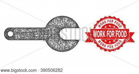 Wire Frame Spanner Tool Icon, And Work For Food Rubber Ribbon Seal Print. Red Stamp Seal Has Work Fo