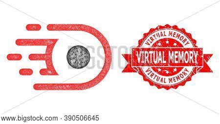 Wire Frame Speed Core Icon, And Virtual Memory Textured Ribbon Stamp Seal. Red Stamp Seal Contains V