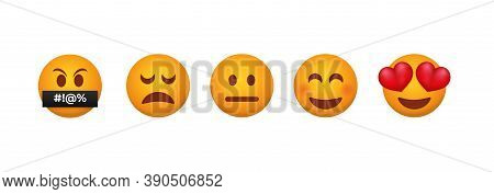 Customer Feedback Emoticons. Testimonial From Each Client Reaction Service From Admiration With Eyes