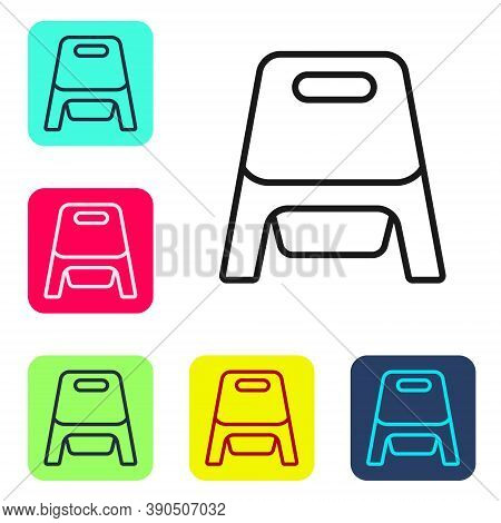 Black Line Baby Potty Icon Isolated On White Background. Chamber Pot. Set Icons In Color Square Butt