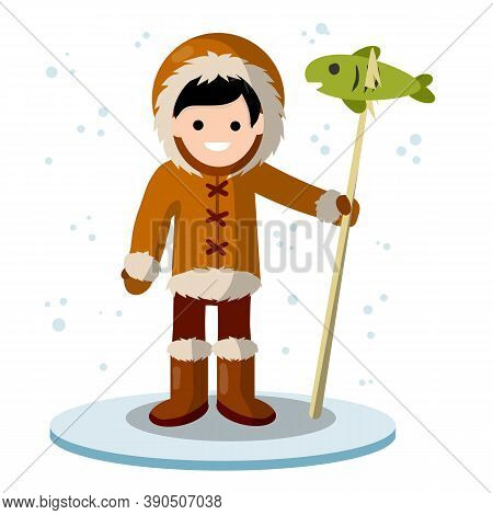Eskimo Man On Ice Platform With Harpoon And Fish. Native North American. Warm Winter Clothing Made O