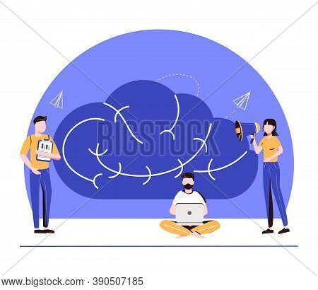 Creative Brain With Innovative Knowledge Thinking Scene Tiny Persons Concept. Brainstorming Process