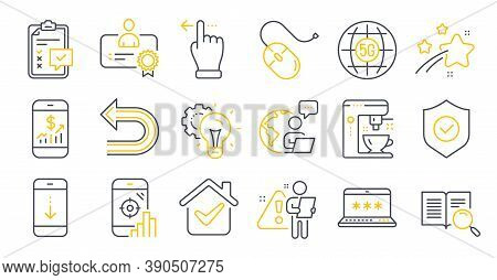 Set Of Technology Icons, Such As 5g Internet, Computer Mouse, Seo Phone Symbols. Touchscreen Gesture