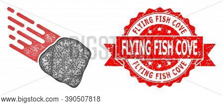 Wire Frame Stone Meteorite Icon, And Flying Fish Cove Unclean Ribbon Stamp Seal. Red Stamp Seal Incl