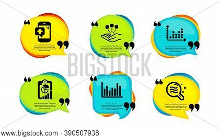 Report, Medical Phone And Dot Plot Icons Simple Set. Speech Bubble With Quotes. Consolidation, Bar D
