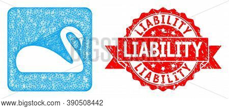 Wire Frame Swan Icon, And Liability Dirty Ribbon Stamp Seal. Red Stamp Seal Contains Liability Text