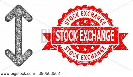 Network Swap Arrows Vertically Icon, And Stock Exchange Unclean Ribbon Seal Print. Red Stamp Seal Co