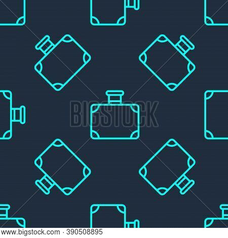 Green Line Suitcase For Travel Icon Isolated Seamless Pattern On Blue Background. Traveling Baggage