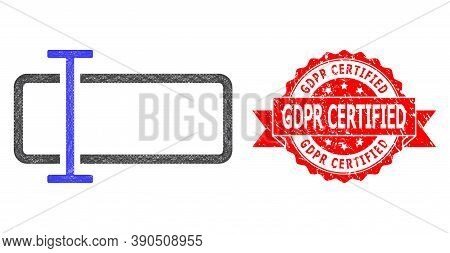 Network Text Field Icon, And Gdpr Certified Scratched Ribbon Stamp Seal. Red Stamp Seal Includes Gdp