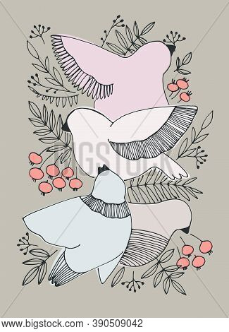 Decor Printable Art. Hand Drawn Vector Illustration With Birds, Berries On Beige Background. Design