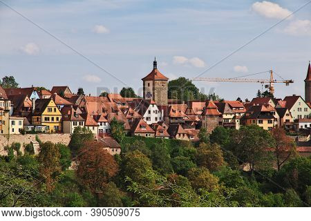 Rotenburg On Tauber, Bavaria, Germany - 12 Sep 2015: The View On Rotenburg On Tauber In Germany