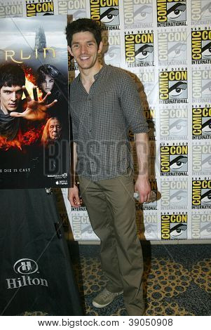 SAN DIEGO, CA - JULY 15: Colin Morgan arrives at the 2012 Comic Con convention press room at the Bayfront Hilton Hotel on Sunday, July 15, 2012 in San Diego, CA.