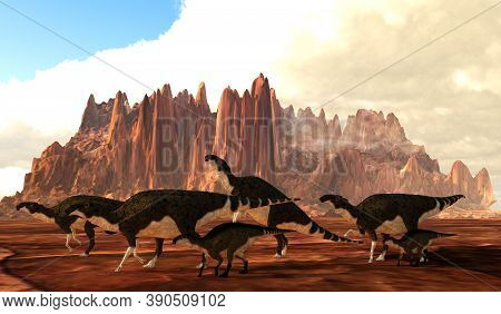 Brachylophosaurus Dinosaur Herd 3d Illustration - A Herd Of Brachylophosaurus Dinosaurs Cross A Dese