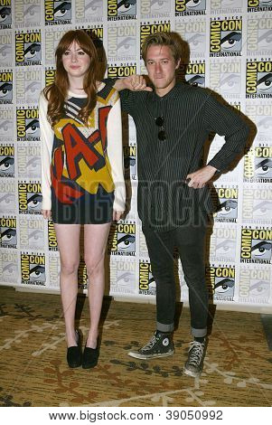 SAN DIEGO, CA - JULY 15: Karen Gillan and Arthur Darvill arrive at the 2012 Comic Con convention press room at the Bayfront Hilton Hotel on Sunday, July 15, 2012 in San Diego, CA.