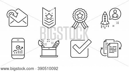 Checkbox, Receive Mail And Shoulder Strap Line Icons Set. Creativity Concept, Bureaucracy And Startu