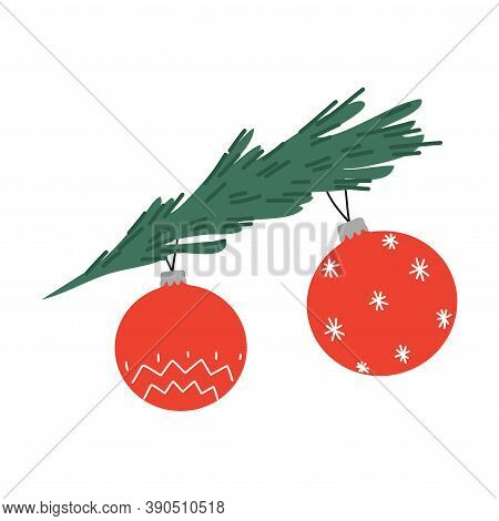 Traditional Christmas Decorative Red Balls Hanging On Evergreen Decorated Tree
