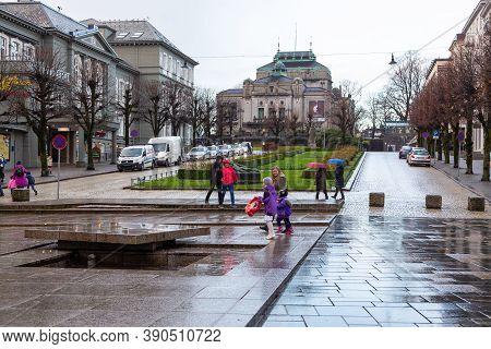 Bergen, Norway- 12 December 2015: The National Stage, Or Den Nationale Scene Area In Bergen, Norway