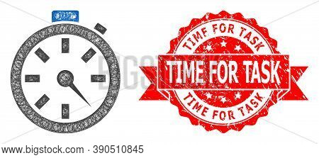 Wire Frame Timer Icon, And Time For Task Scratched Ribbon Stamp Seal. Red Stamp Seal Contains Time F