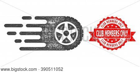 Network Tire Wheel Icon, And Club Members Only Scratched Ribbon Stamp Seal. Red Stamp Seal Has Club