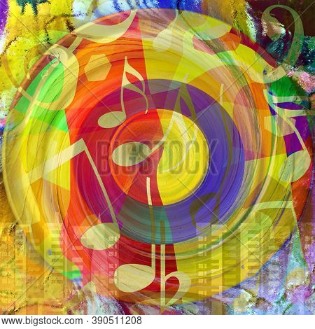 Urban Street Art Styled Colorful Music Background With Dancing Musical Notes, Huge Loudspeaker And V