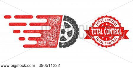 Network Tire Wheel Icon, And Total Control Grunge Ribbon Stamp Seal. Red Stamp Seal Has Total Contro