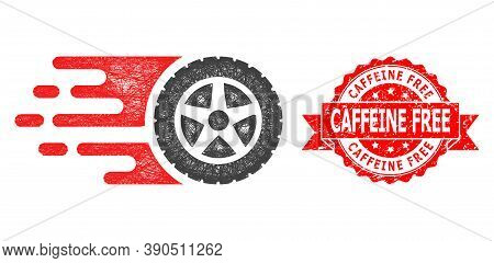 Network Tire Wheel Icon, And Caffeine Free Grunge Ribbon Seal Print. Red Seal Has Caffeine Free Titl