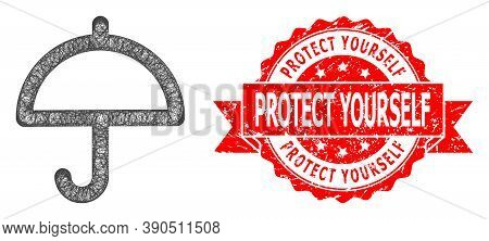 Wire Frame Umbrella Icon, And Protect Yourself Dirty Ribbon Stamp Seal. Red Seal Includes Protect Yo