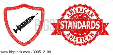 Wire Frame Vaccine Shield Icon, And American Standards Dirty Ribbon Stamp Seal. Red Stamp Seal Inclu