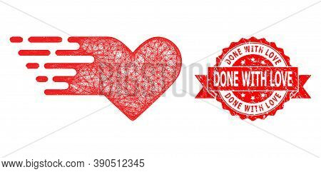 Net Valentine Heart Icon, And Done With Love Textured Ribbon Stamp Seal. Red Stamp Seal Contains Don