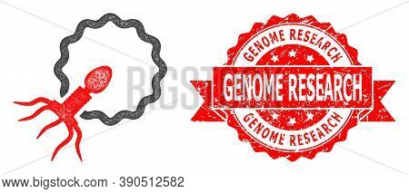 Wire Frame Virus Penetrating Cell Icon, And Genome Research Textured Ribbon Seal Print. Red Seal Inc