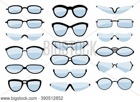 Glasses Line Art Silhouette, Eyewear And Optical Accessory. Medical Classic Ocular Set. Vector Glass