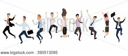 Jumping Business People. Group Of Business People Jumps On A White Background. Vector Illustration O