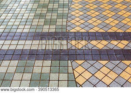 Beautiful Pavement Of Grey And Yellow Clinker Brick. Walking Path