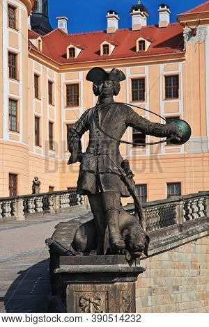 Moritzburg, Saxony, Germany - 08 Sep 2015: The Statue In Moritzburg Schloss In Germany, Saxony