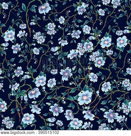 Childrens Pattern Flowers. Seamless Floral Pattern On A Dark Blue Background. Light Blue Flowers, Gr