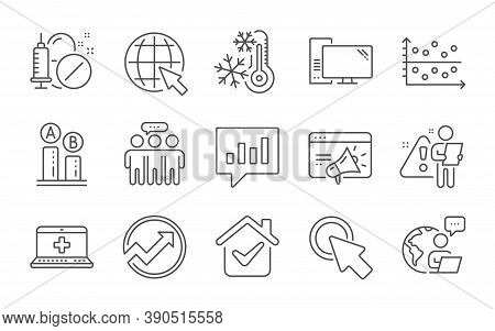 Seo Marketing, Medical Help And Employees Group Line Icons Set. Click Here, Medical Drugs And Intern