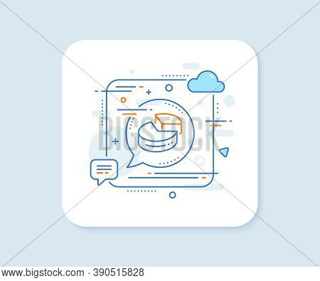 Pie Chart Line Icon. Abstract Square Vector Button. Presentation 3d Graph Sign. Market Analytics Sym