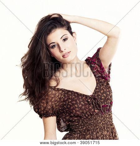 Portrait of a beautiful and atractive fashion woman isolated on white