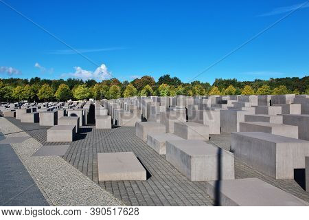 Berlin, Germany - 09 Sep 2015: The Holocaust Memorial - Memorial To The Murdered Jews Of Europe. Ber