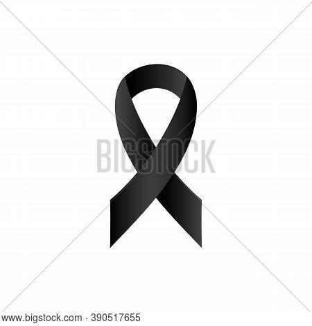 Black Awareness Ribbon Icon. Vector Eps 10. Isolated On White Background.