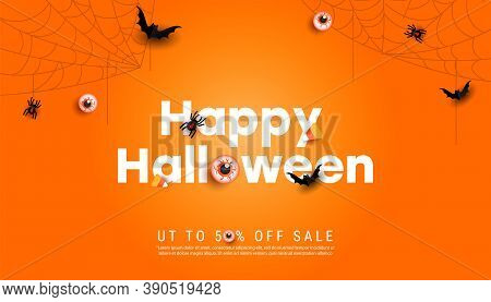 Happy Halloween Horizontal Sale Banner Background Template. Cobweb, Spiders And Scary Eyeballs On Or