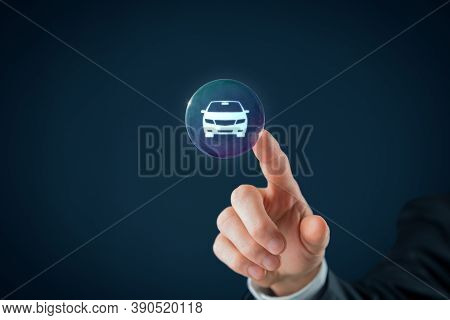 Dream About New Car, Carsharing, Car Rental And Leasing Concepts. Hand With Soap Bubble (symbol Of D