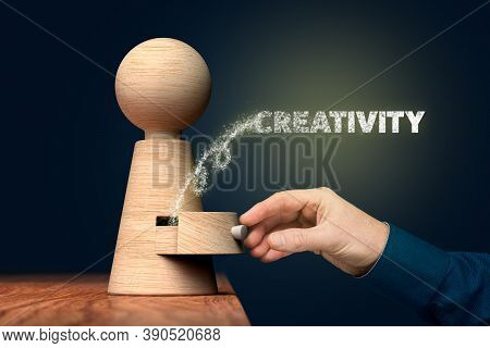 Unlock And Open Your Creativity Concept. Coach (manager, Mentor) Open Drawer From Wooden Figurine, T