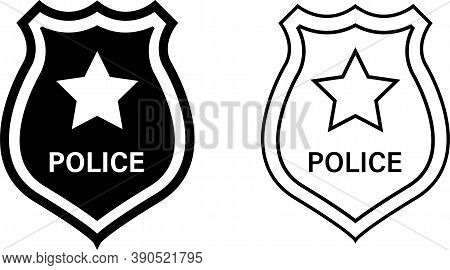 Police Badge Icon.vector Isolated Black And Linear Police Badge Icons. Stock Vector.