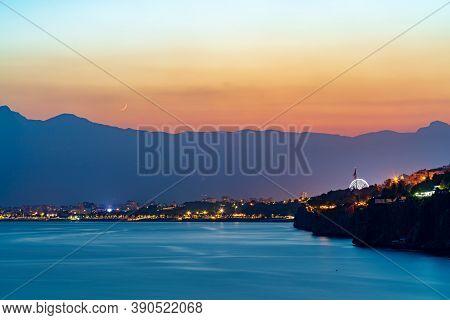 Amazing Sunset And Mountains At Antalya Falez And Beach