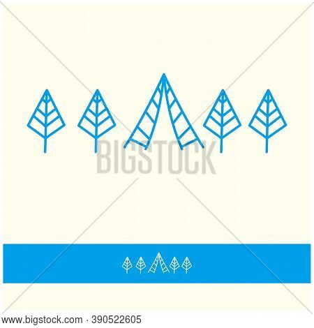 Vector Set Of Logo Nature Elements - Abstract Geometric Elements Of Plants Or Trees In Linear Style.